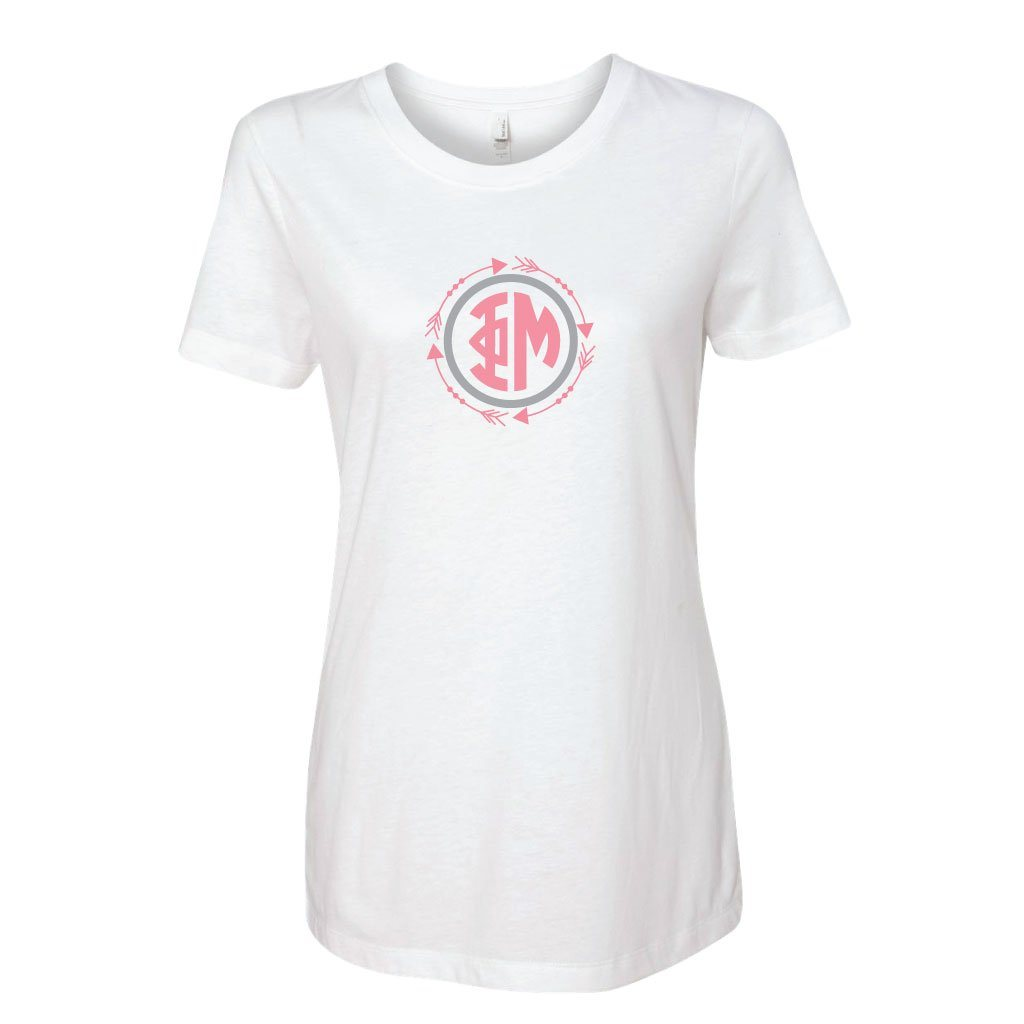 Phi Mu Arrow Monogram Fitted Crew T-shirt - FREE SHIPPING
