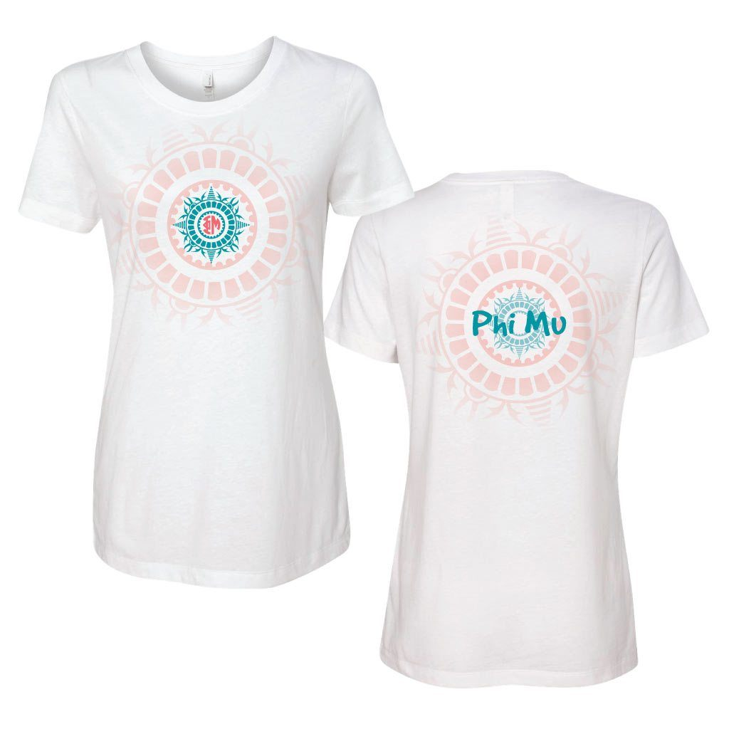 Phi Mu Full Tribal Monogram Fitted Crew T-shirt - FREE SHIPPING