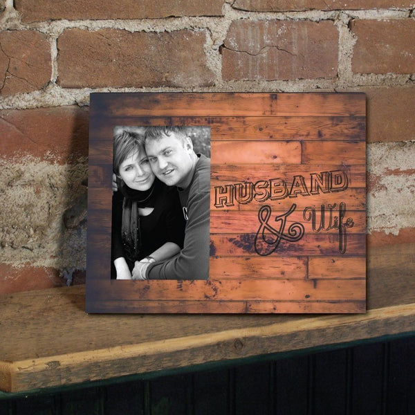 "Wedding Themed Picture Frame - Holds 4x6 Photo - ""Husband & Wife"" -"