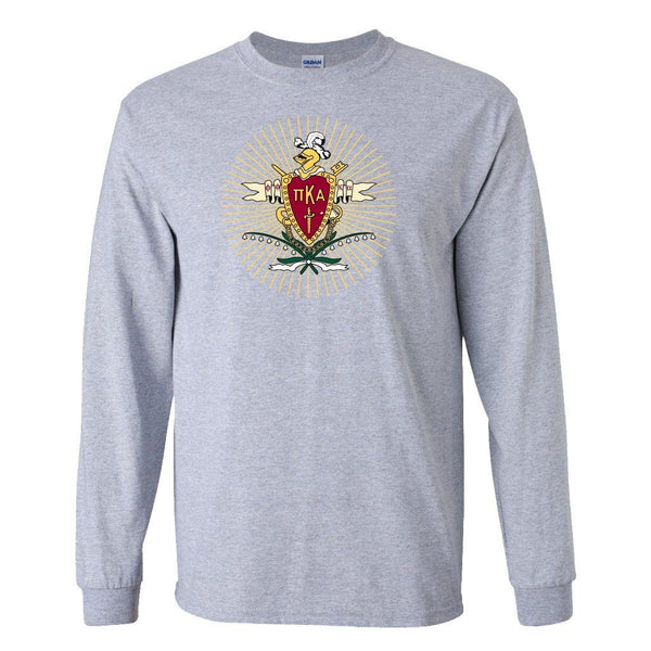 Pi Kappa Alpha Long Sleeve T-shirt Coat of Arms Design  White & Sport
