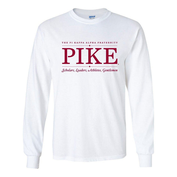 "Pi Kappa Alpha Long Sleeve T-shirt ""Pike Scholars"" Design - White & Sport Gray"