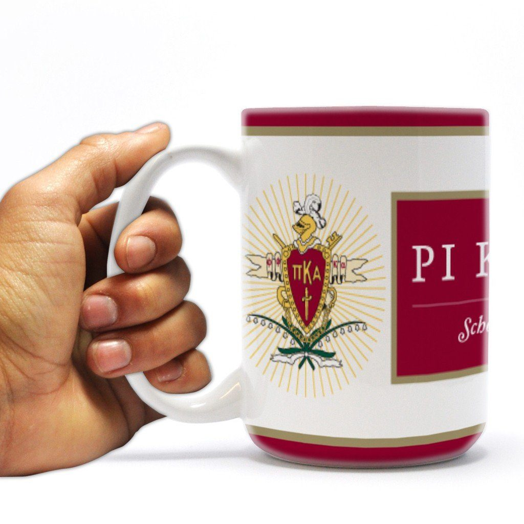 "Pi Kappa Alpha 15oz Coffee Mug "" Crest with Three Red Stripes"