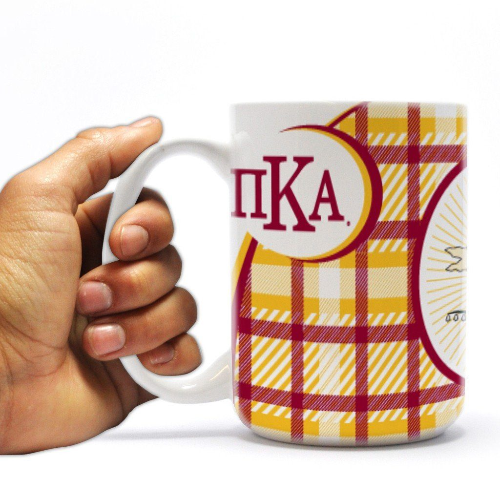 "Pi Kappa Alpha 15oz Coffee Mug "" Greek Letter and Plaid Design"