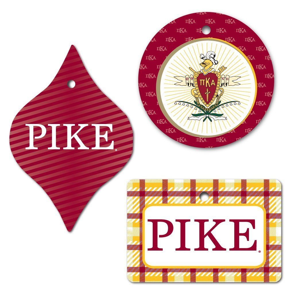 Pi Kappa Alpha Ornament - Set of 3 Shapes - FREE SHIPPING