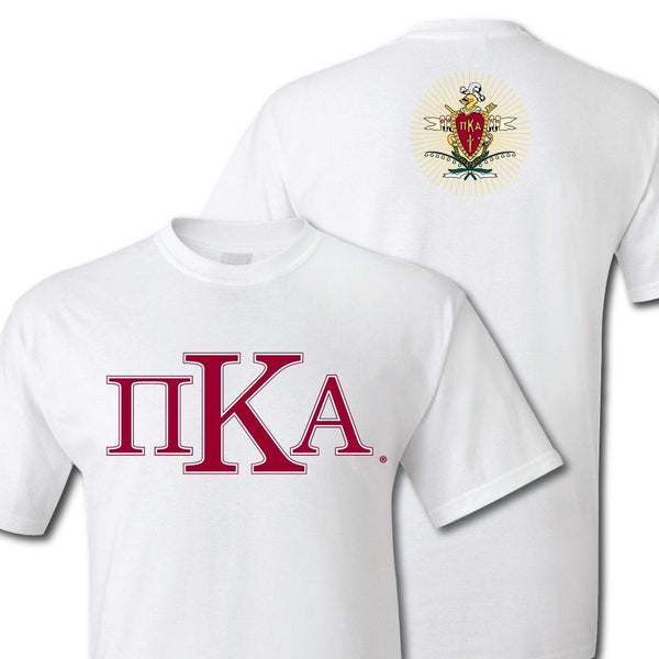 "Pi Kappa Alpha Greek Letters Standard T-Shirt "" White & Sport Gray"