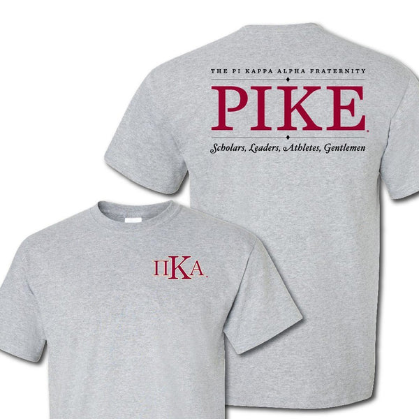 Pi Kappa Alpha Greek Letter Front and Pike Back Standard T-Shirt ""