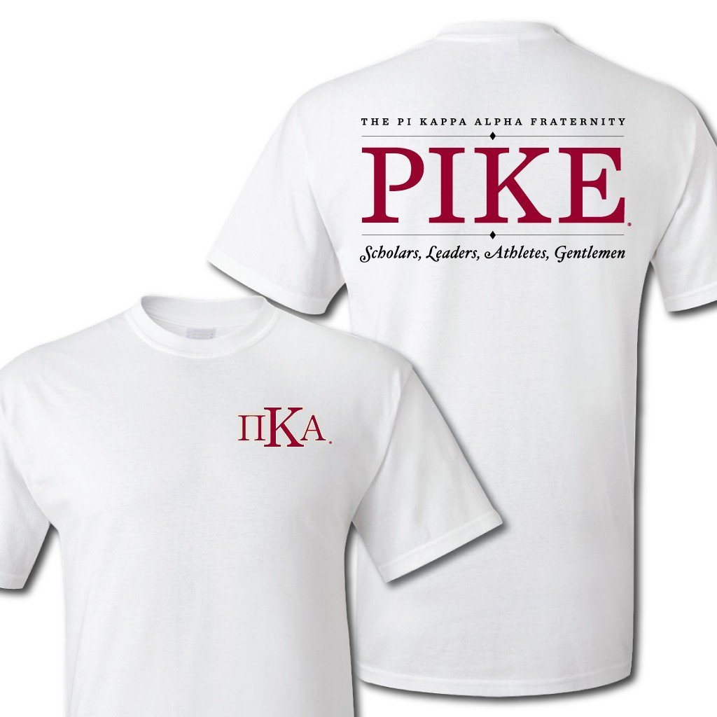 Pi Kappa Alpha Greek Letter Front and Pike Back Standard T-Shirt - FREE SHIPPING