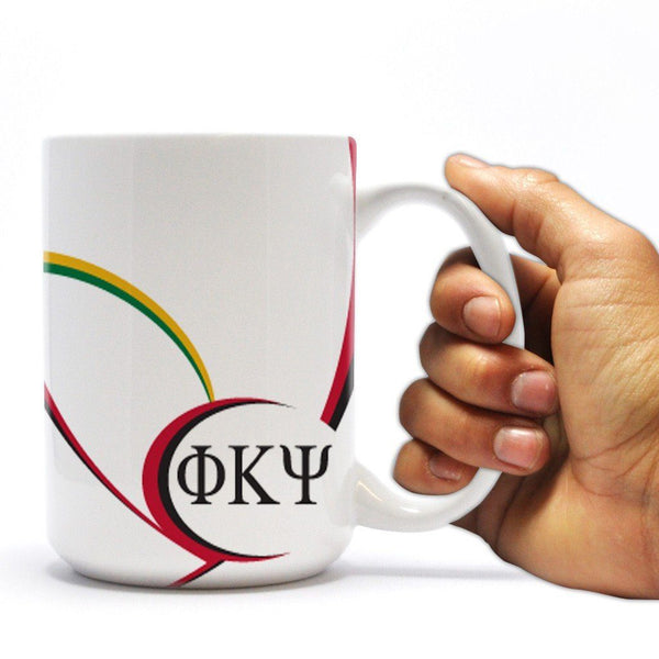 Phi Kappa Psi - Coffee Mug - Greek Letters and Swoop Design