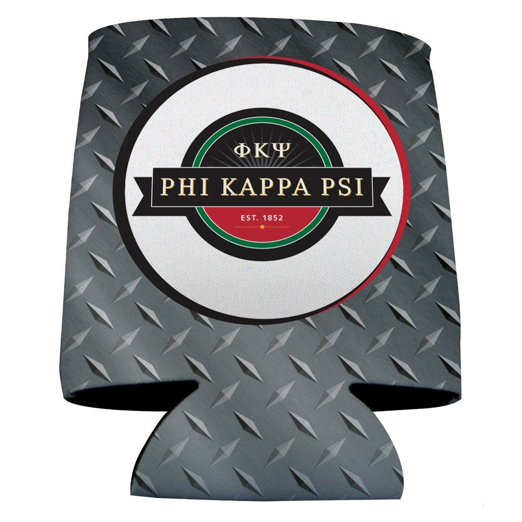 Phi Kappa Psi Can Cooler Set of 12 - Logo & Steel Plate FREE SHIPPING