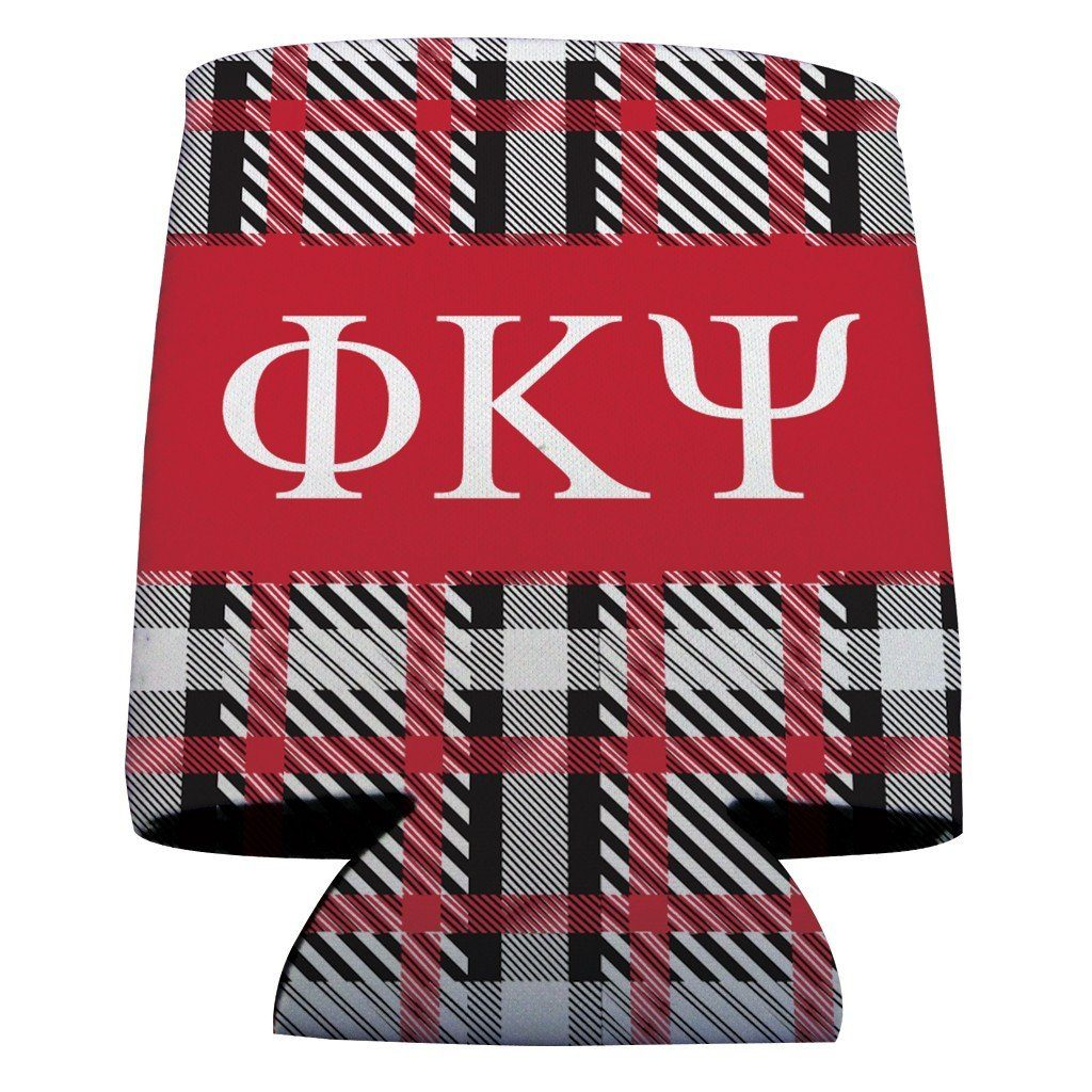 Phi Kappa Psi Can Coolers Set of 6 - Plaid Design