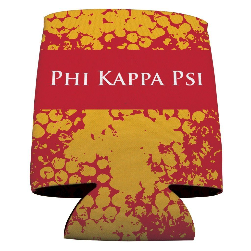 Phi Kappa Psi Can Coolers Set of 6 - Red & Gold Grunge Design - FREE