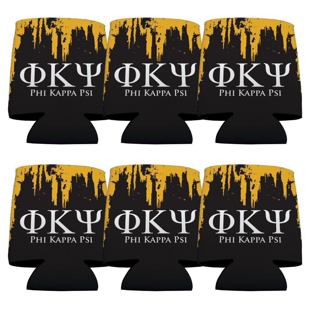 Phi Kappa Psi Can Coolers Set of 6 - Greek Letters & Black and Gold FREE SHIPPING