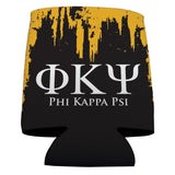 Phi Kappa Psi Can Coolers Set of 6 - Greek Letters & Black and Gold -