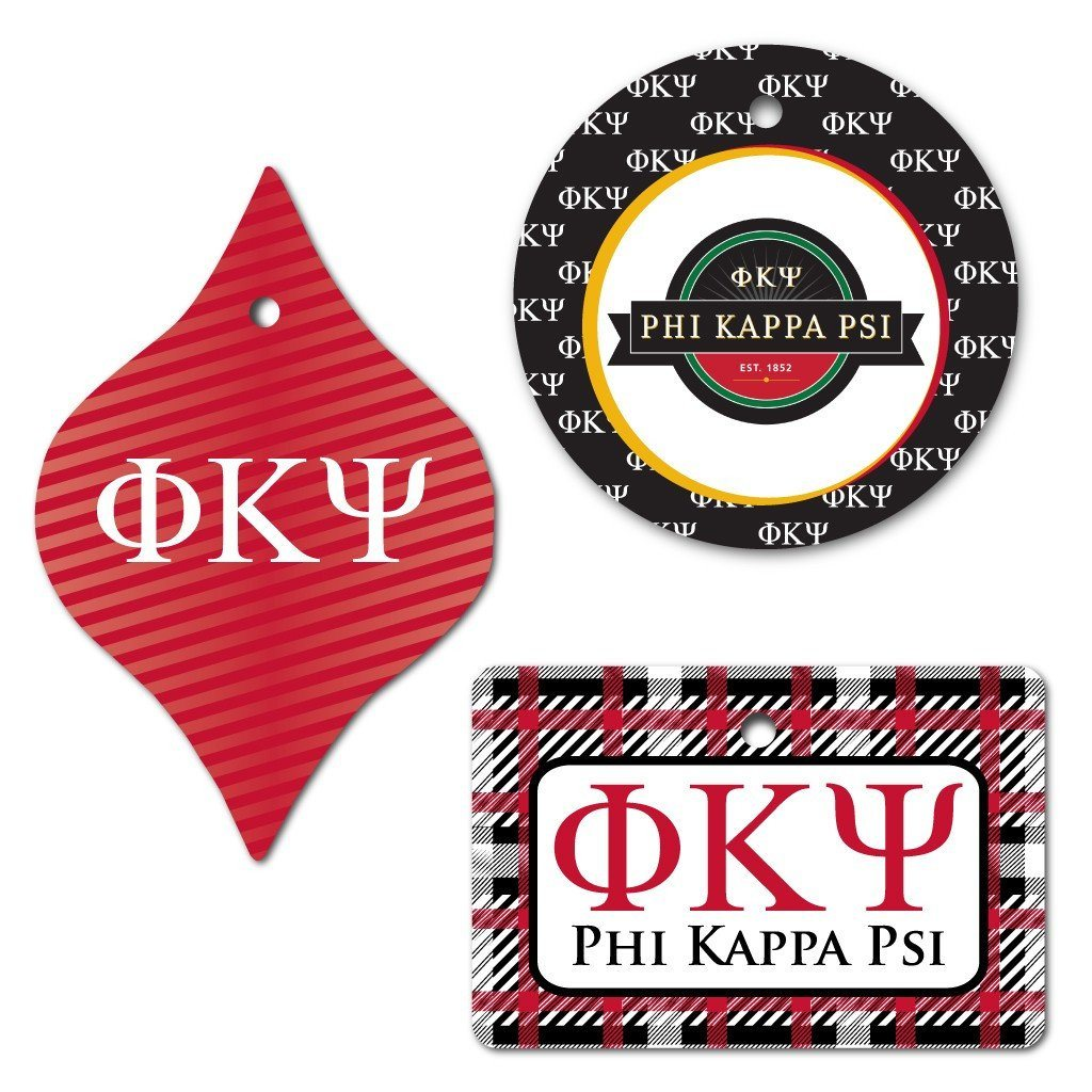 Phi Kappa Psi Ornament - Set of 3 Shapes - FREE SHIPPING