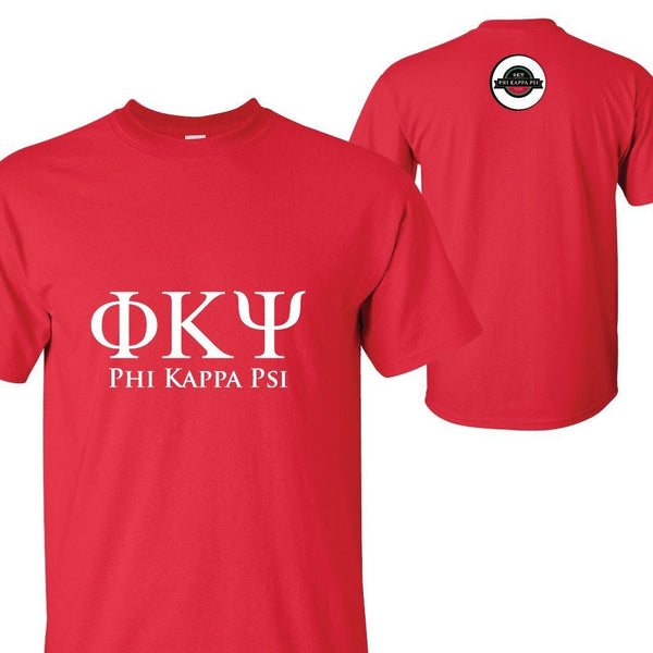 Phi Kappa Psi Standard T-shirt - Greek Letters Front and Logo Back