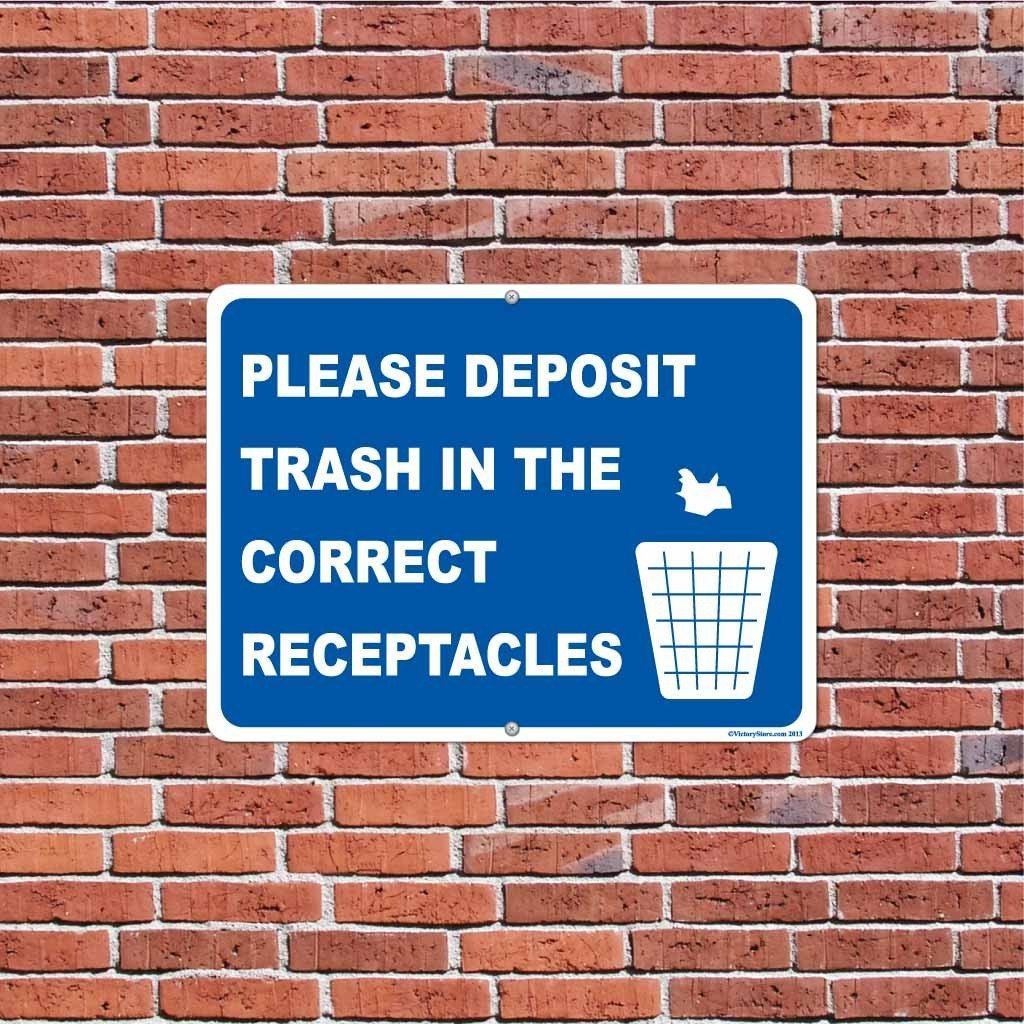 Please Deposit Trash in the Correct Receptacles Sign or Sticker - #13