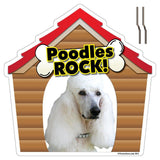 Poodles Rock! Dog Breed Yard Sign - Plastic Shaped Yard Sign w/ 2 E-Z