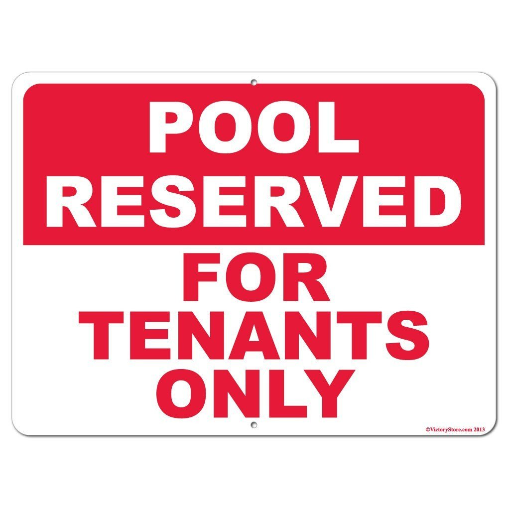 Pool Reserved for Tenants Only Sign or Sticker - #6