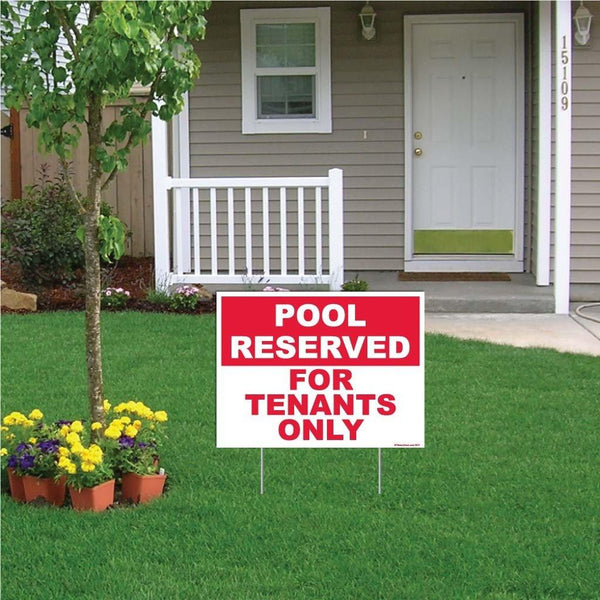 "A yard sign that says ""Pool reserved for tenants only"""