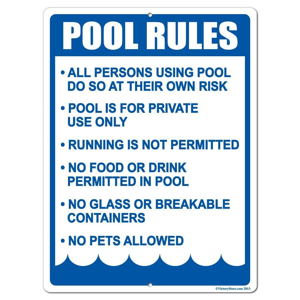 A pool rules sign