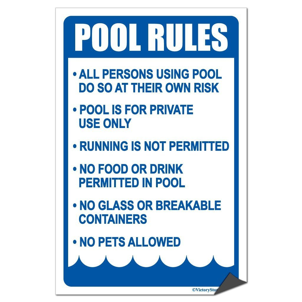 A pool rules sticker