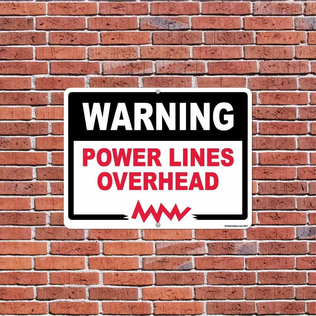 Power Lines Overhead Warning Sign or Sticker - #4