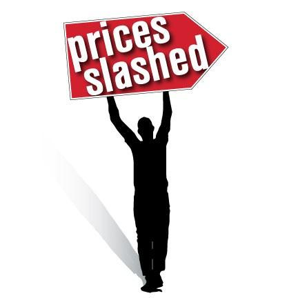 Prices Slashed Spinner Signs
