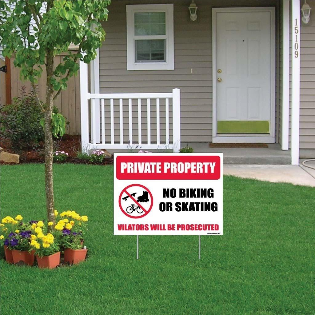 "A yard sign that says ""Private property, no biking or skating, violators will be prosecuted"""