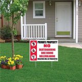 "A yard sign that says ""Private property"""
