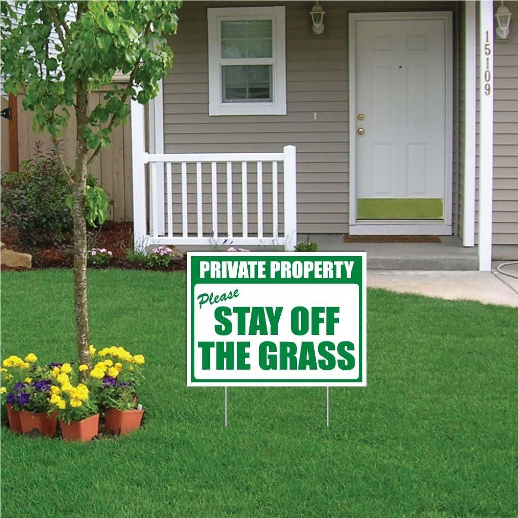 "Private Property "" Please Stay off the Grass Sign or Sticker - #8 - stakes not included"