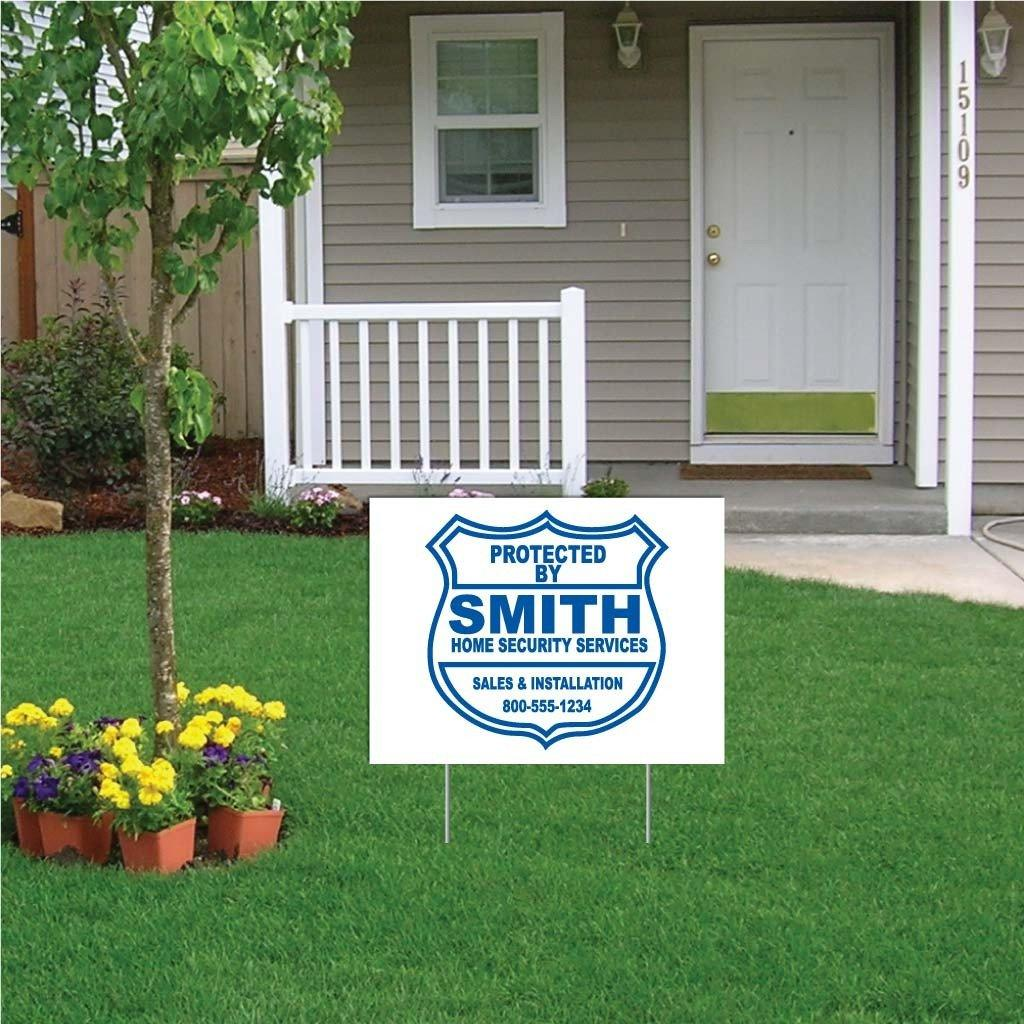 "A yard sign that says ""Protected by smith high security services"""