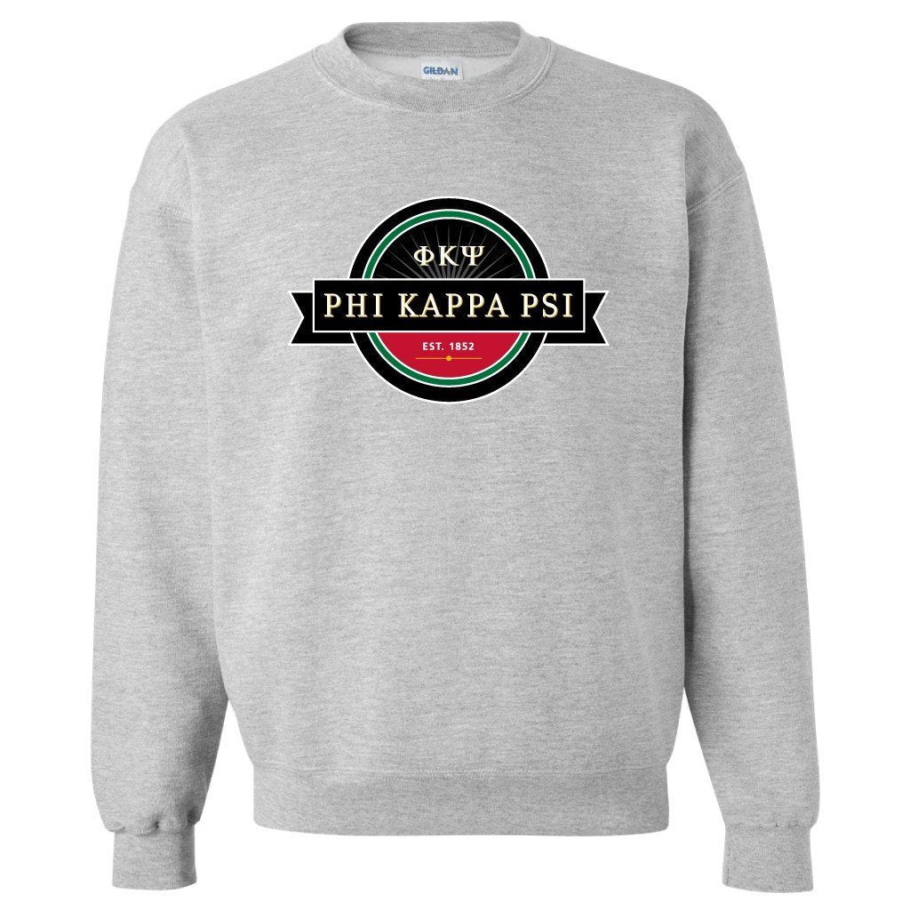 Phi Kappa Psi Sport Gray Crewneck Sweatshirt Seal Design