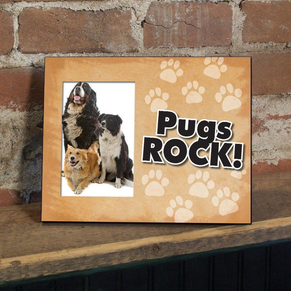 Pugs Rock Dog Picture Frame - Holds 4x6 picture