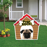 Pugs Rock! Dog Breed Yard Sign - Plastic Shaped Yard Sign w/ 2 E-Z