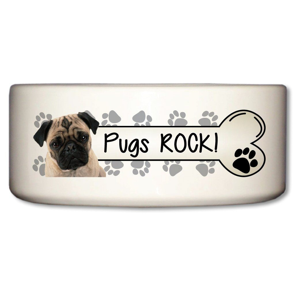 "A Dog Themed Ceramic Bowl that says ""Pugs Rock!"""