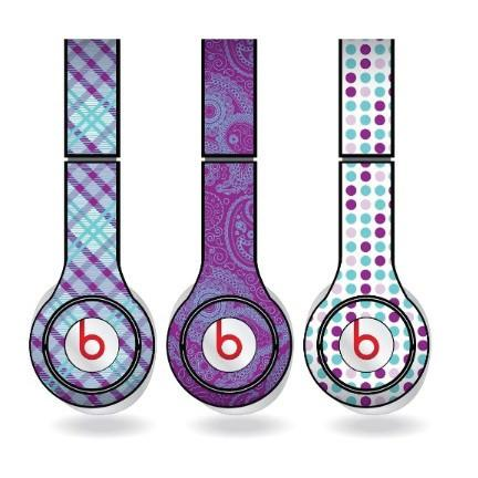 "Purple & Teal Skins for Beats Solo HD Headphones "" Set of 3 Patterns"