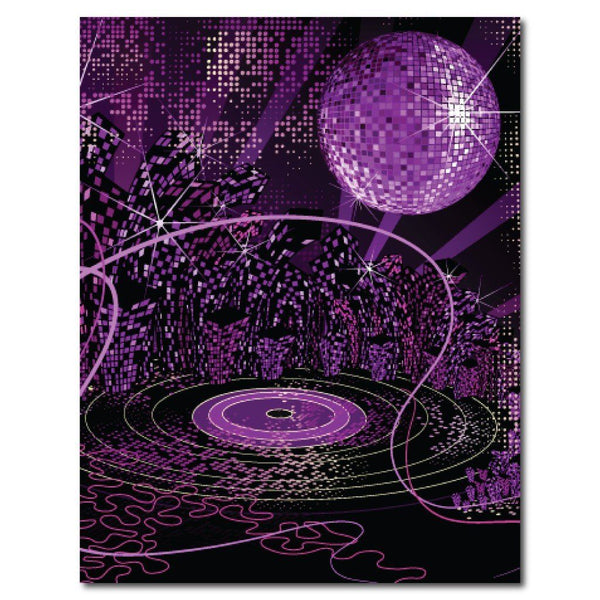 Purple Disco Fever Vinyl Photography Backdrop - 8'x10' or 8'x14'