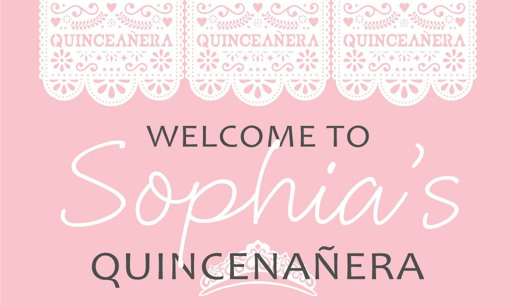 Quinceañera Banner - Traditional Paper Cutout Design