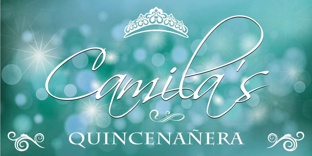 Quinceañera Banner - Tiara and Sparkle Design