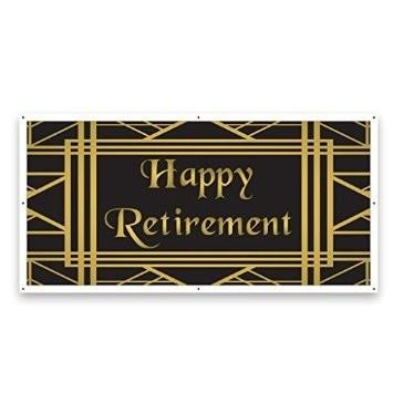 Happy Retirement Gold and Black 2'x4' Vinyl Banner