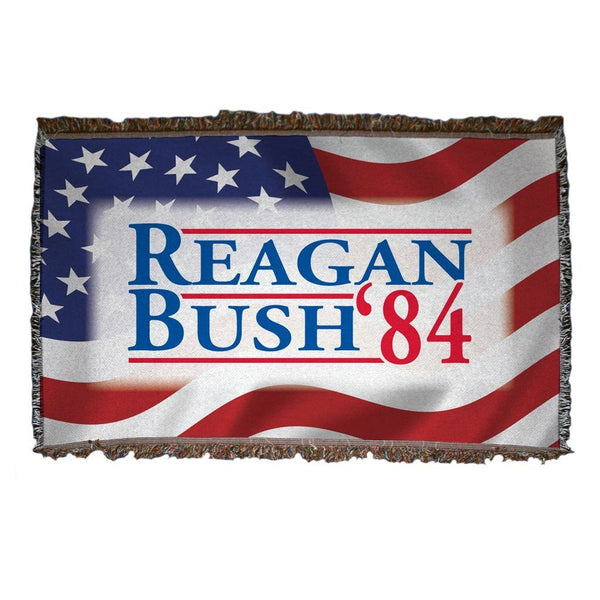 Reagan and Bush 1984 - Woven Blanket - American Flag