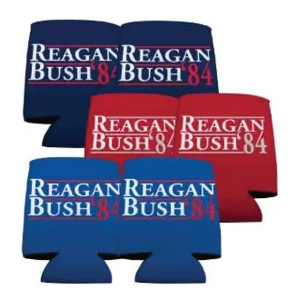 Reagan and Bush '84 Can Cooler - set of 6 - FREE SHIPPING
