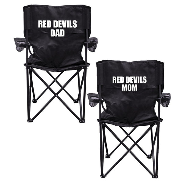 Red Devils Parents 2 Black Folding Camping Chair Set of 2 with Carry