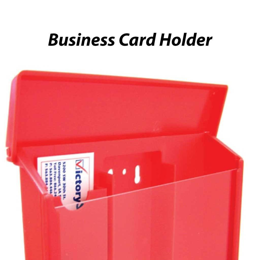 Red Sturdy Brochure Box with Business Card Holder