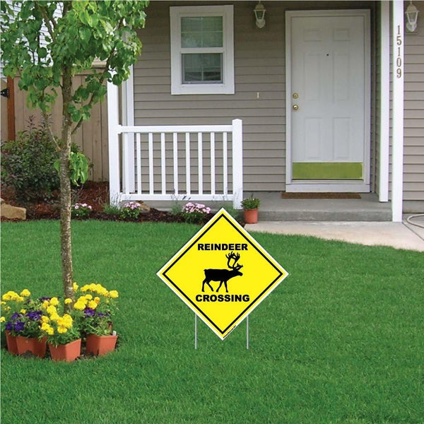 Reindeer Crossing Sign or Sticker