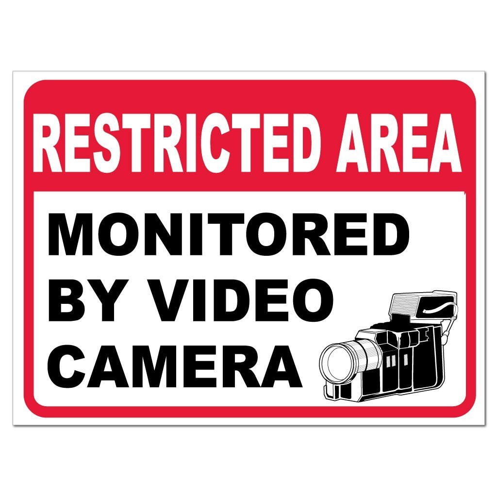 Restricted Area Monitored by Video Camera Sign or Sticker