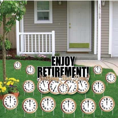 Retirement Yard Card 'Nothing But Time' - 13 pcs + Display Stakes
