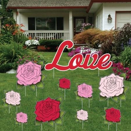 "Valentine's Day Yard Decoration - ""Love"" with a Dozen Roses 15 short stakes and 2 EZ stakes"