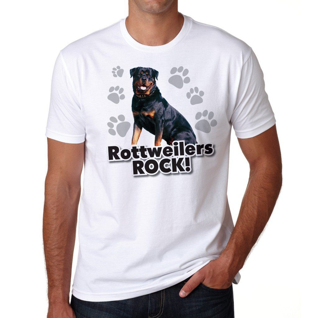 "A Dog Theme T-Shirt that says ""Rottweilers Rock!"""
