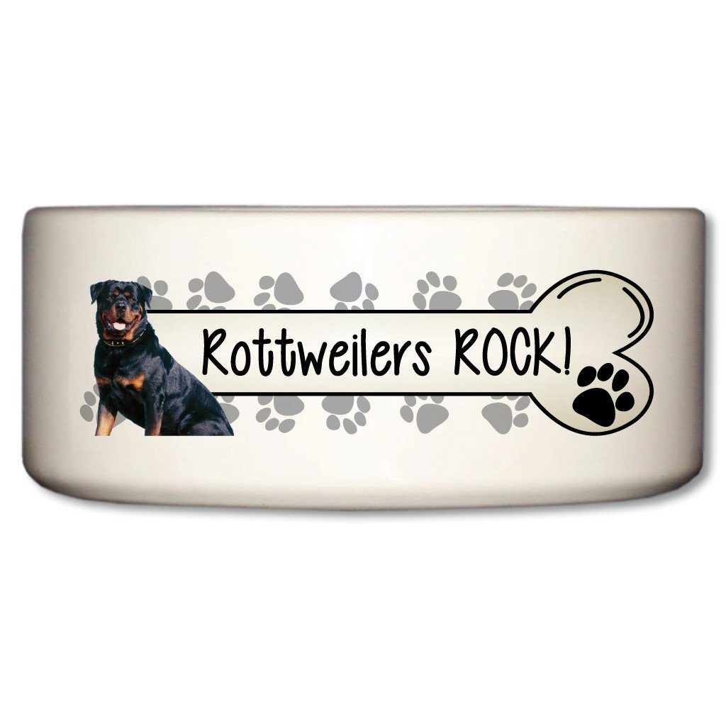 "A Dog Themed Ceramic Bowl that says ""Rottweilers Rock!"